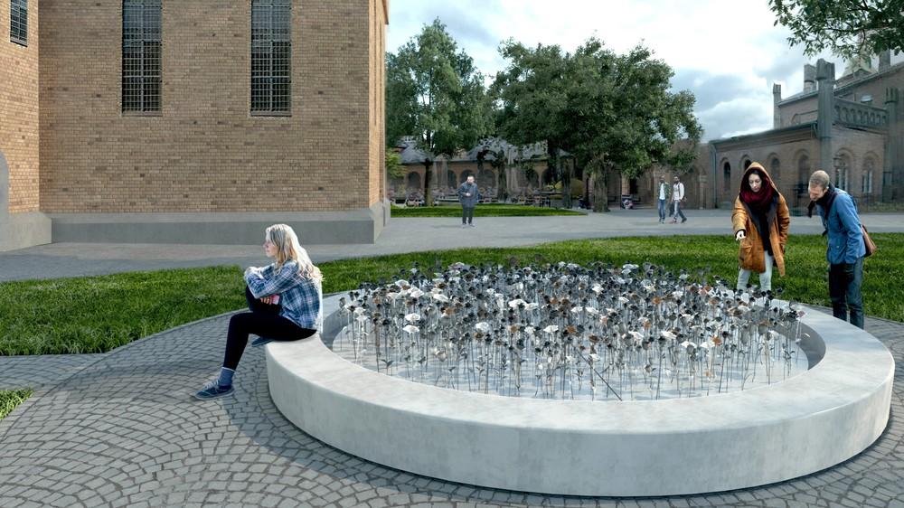 Un mémorial du 22 juillet composé de roses en fer forgé