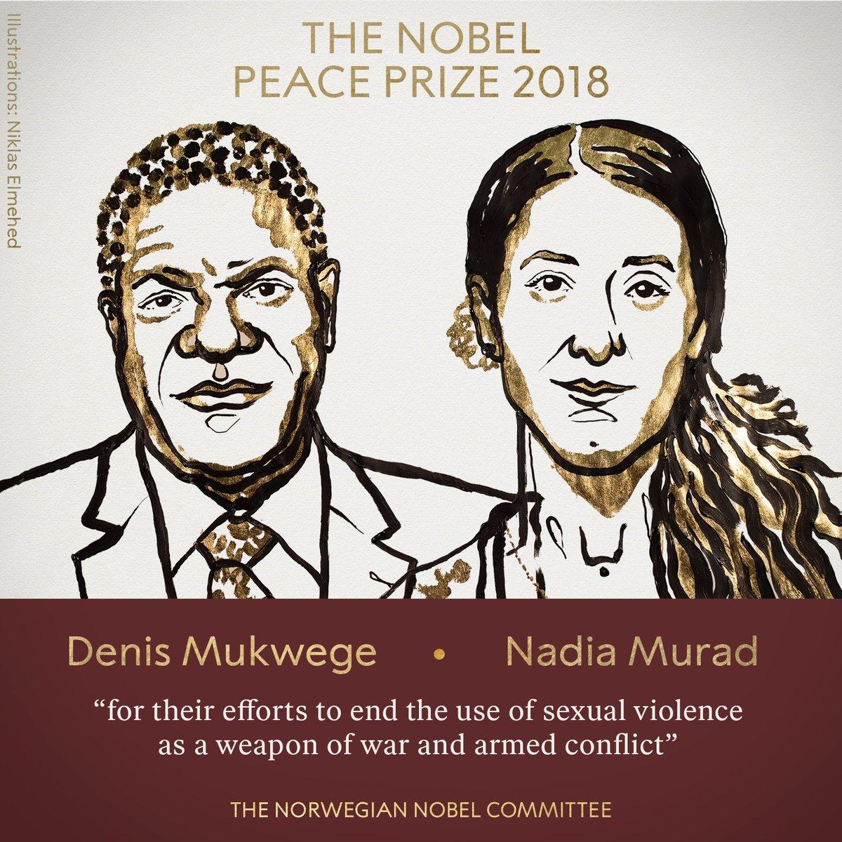 Prix Nobel de la Paix 2018 : Denis MUKWEGE et Nadia MURAD
