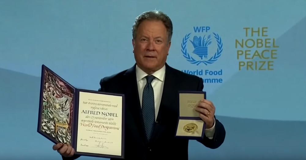 Remise Virtuelle du Prix Nobel de la Paix au Programme Alimentaire Mondial